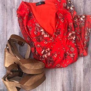 Missguided Red Floral Fit & Flare V-Neck Dress